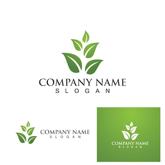 Blattbaum grünes logo und symbolvektor eps10