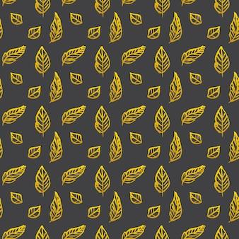 Blattbürsten-goldnahtloses muster. vektor-illustration des natur-frühlings-hintergrundes.