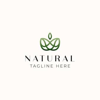 Blattgrüne farbverlauf monoline logo vorlage in weißem hintergrund isoliert