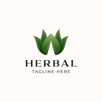 Blattgrüne logo-vorlage mit farbverlauf isoliert in weißem hintergrund