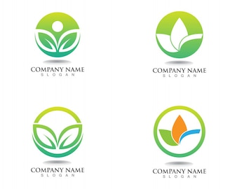 Blattgrün-Naturlogo- und -symbolschablone Vektor