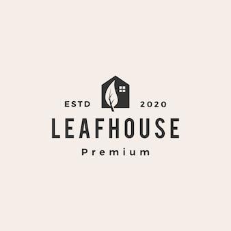 Blatthaus nach hause hypothek dach architekt hipster vintage logo symbol illustration