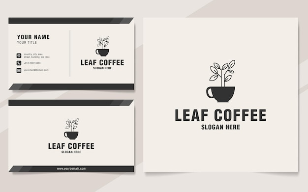 Blattkaffee-logo-vorlage im monogramm-stil