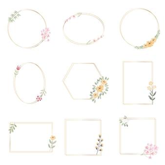 Blattkranz der botanischen handzeichnung des aquarells mit goldener sammlung der kleinen rosa und gelben blumen