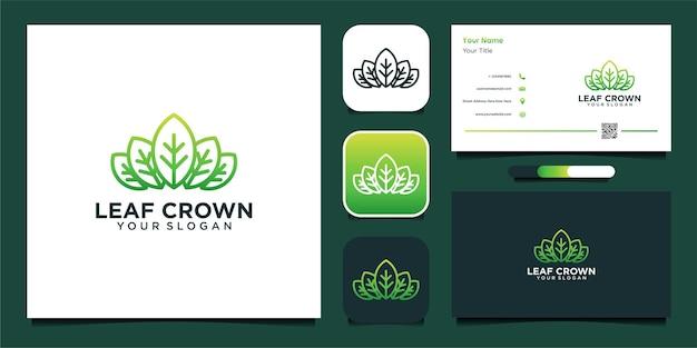 Blattkronen-logo-design und visitenkarte