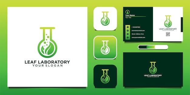 Blattlabor-logo-design-vorlage und visitenkarte