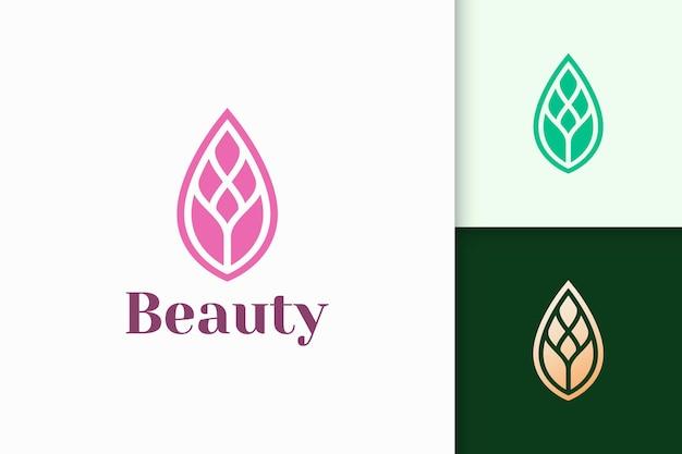 Blattlogo im einfachen und femininen stil für das gesundheits- und schönheitsgeschäft