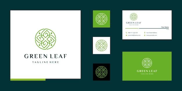 Blattlogo mit designvorlage für den buchstaben g und visitenkarte