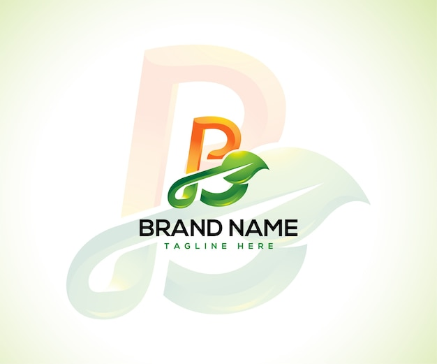 Blattlogo und anfangsbuchstabe b-logo-konzept