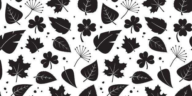 Blattpflanzenvektor nahtloses muster, naturdruck, blätter verschiedene formen, schwarze silhouetten. abbildung wiederholen