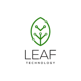 Blatttechnologie-logolinie kunstillustration