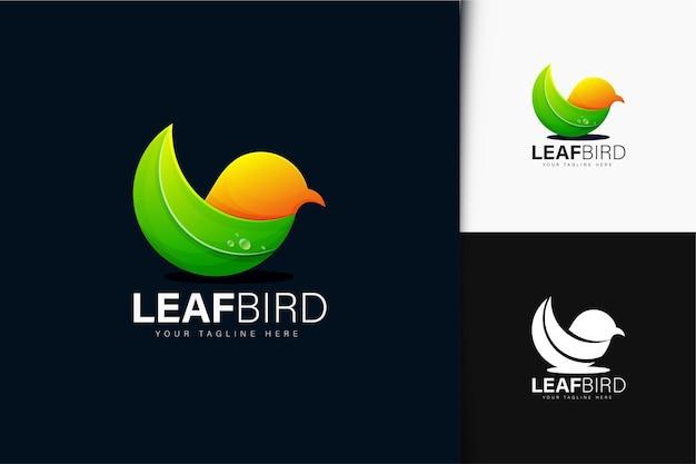 Blattvogel-logo-design mit farbverlauf