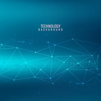 Blau abstrakten hintergrund mit linien und punkte, technologische