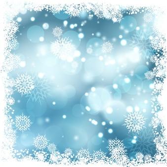 Blau bokeh hintergrund mit schneegrenzen