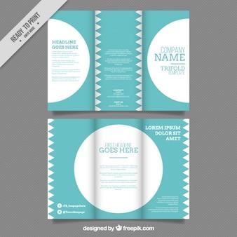 Blau business-flyer mit dekorativen kreise und dreiecke