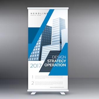 Blau business roll up standee banner template-design