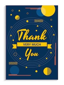 Blau dankeschön-karte mit abstrakten designs.