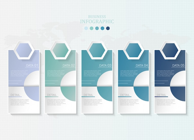 Blau färbt papierinfografiken und -ikonen für anwesendes geschäftskonzept.