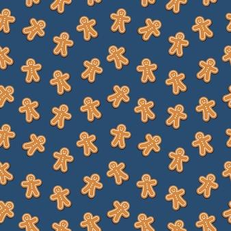 Blau-hintergrund des nahtlosen musters des lebkuchenmann-plätzchens
