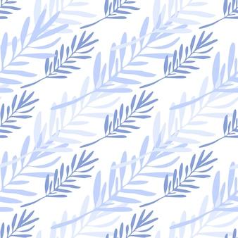 Blau lässt nahtloses muster. hintergrund der blattzweige. vektorillustration auf weißem hintergrund für textil- oder bucheinbände, tapeten, design, grafik, verpackung