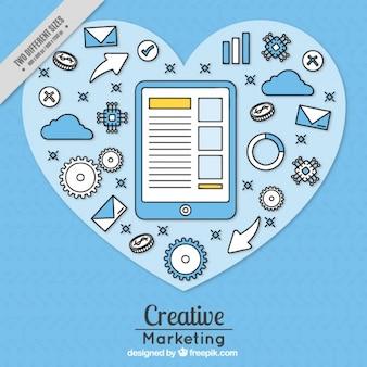 Blau-marketing-hintergrund mit tablette und getriebe
