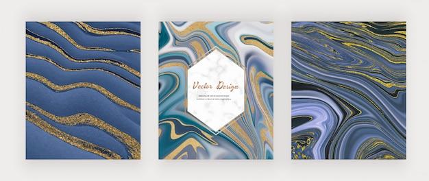 Blau mit goldenen flüssigen tuschemalerei abstrahiert.