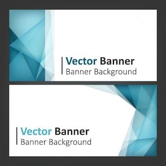 Blau mit polygonale formen banner gesetzt