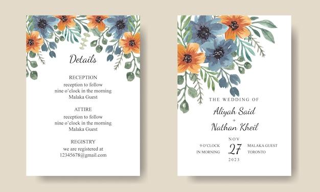 Blau-orange blumen-hochzeitseinladungskarte