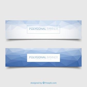 Blau polygonal banner