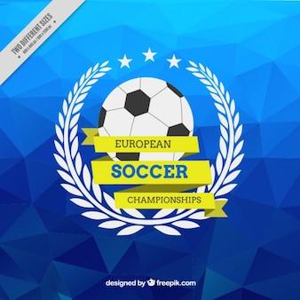 Blau polygonal hintergrund der europäischen fußball-meisterschaft