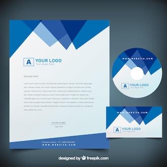 Blau polygonalen firma schreibwaren