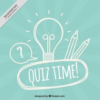 Blau quiz hintergrund mit glühbirne und bleistifte