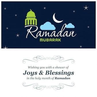 Blau ramadan grußkarte