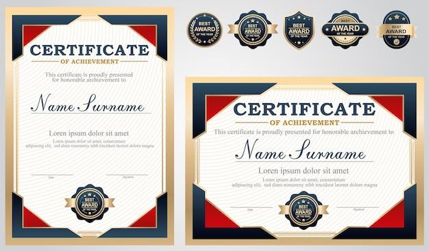 Blau-rot-gold-zertifikatsvorlage
