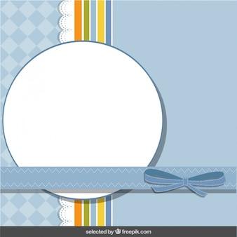 Blau scrapbook-karte mit schleife