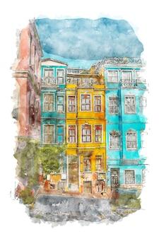 Blau und gelb europäische häuser aquarell poster blau und gelb druck europäische haus zeichnung