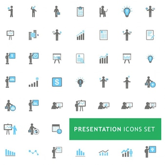 Blau und grau business presentation icon-set