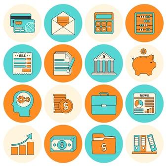 Blau und orange finanzposten