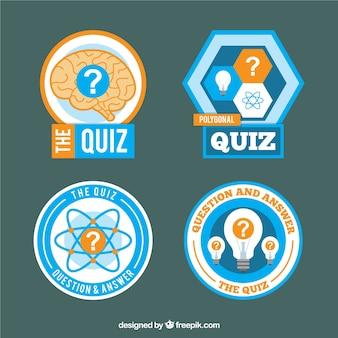 Blau und orange quiz etiketten