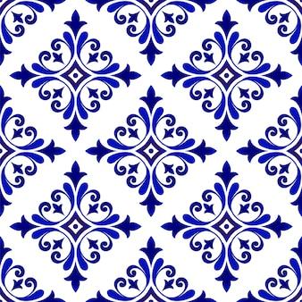 Blau-weiße blumentapete