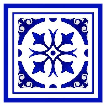 Blau-weißer blumenrahmen