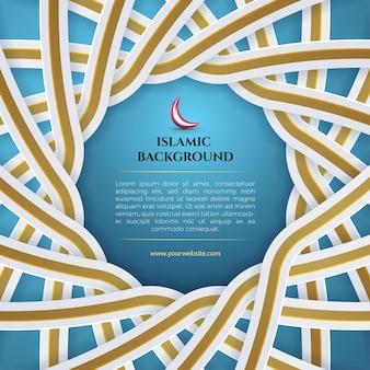 Blau-weißgoldener islamischer hintergrund mit laterne für eid mubarak und ramadan-banner-social-media-vorlagenpost