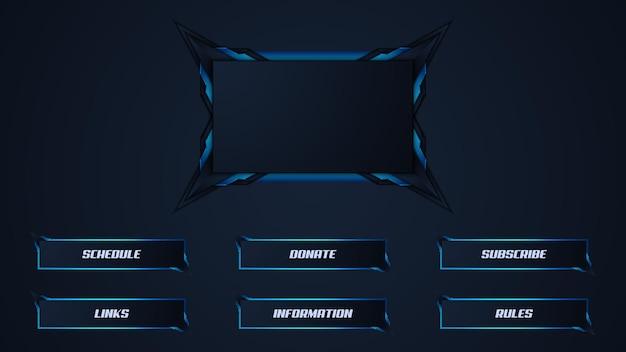 Blau zuckende streamer-panel-overlay-vorlage