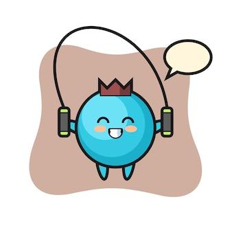 Blaubeer-charakter-karikatur mit springseil