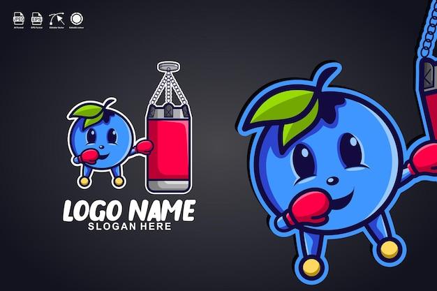 Blaubeerboxen niedliches maskottchen-charakter-logo-design