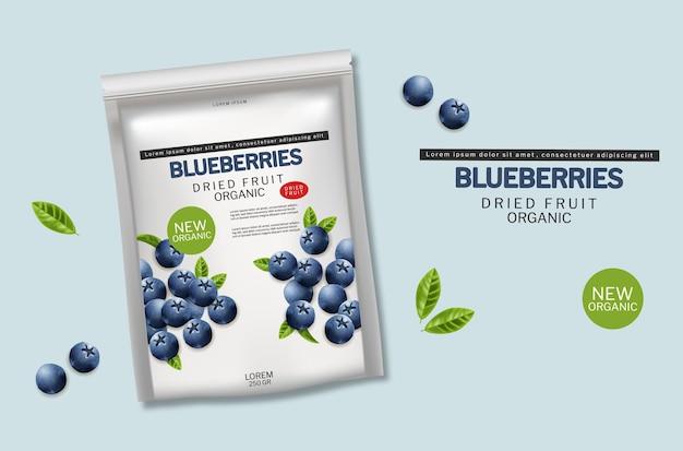 Blaubeere getrocknete bio-früchte vektor realistisch. werbebanner-modelle