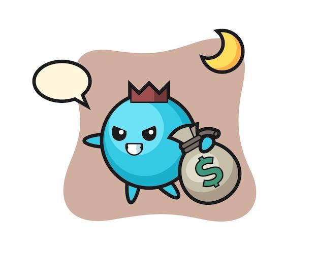 Blaubeerkarikatur wird das geld gestohlen