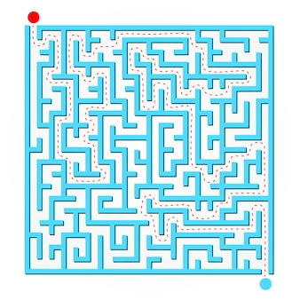Blaue 2d-labyrinthkarte
