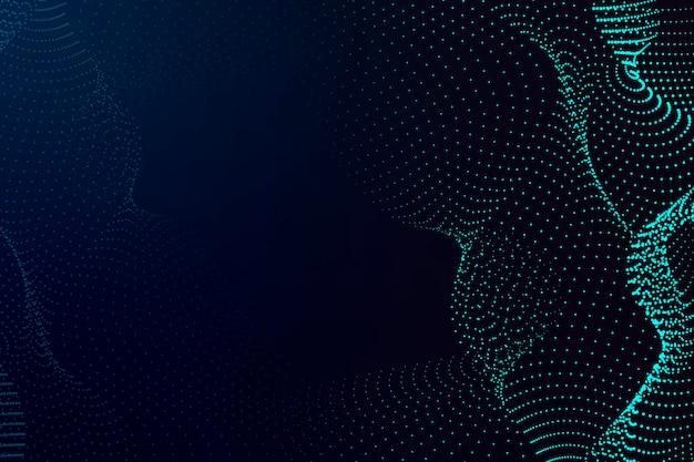Blaue 3d-partikelwelle auf dunkelblauem hintergrund
