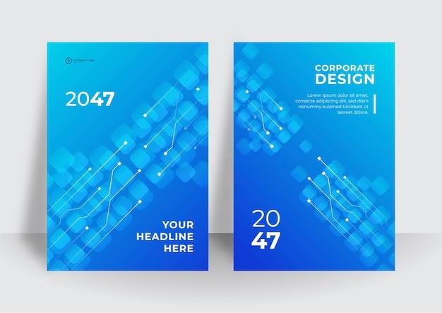 Blaue abdeckungsschablone mit technischem hintergrundkonzept. abstrakte technologieabdeckung mit leiterplatte. designkonzept für high-tech-broschüren. satz futuristisches geschäftslayout